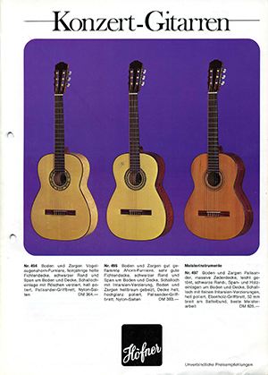 Hofner catalogue 1975